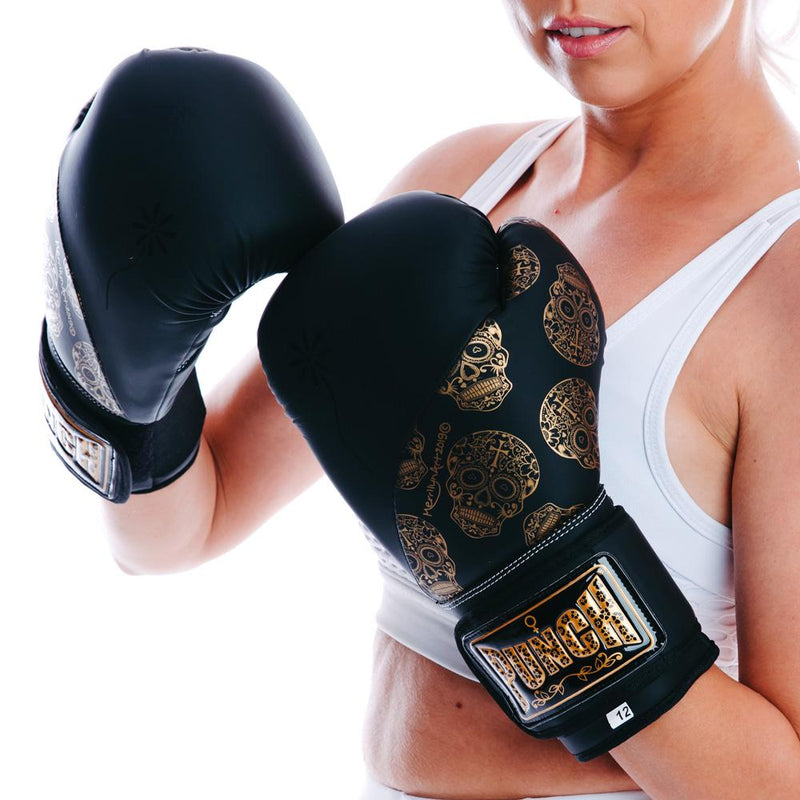 Punch Womens Boxing Gloves - Skull Art-BlackGold-MO REPS® Fitness Store