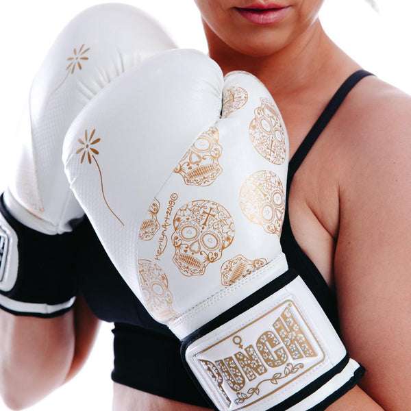 Punch Womens Boxing Gloves - Skull Art-WhiteGold-MO REPS® Fitness Store