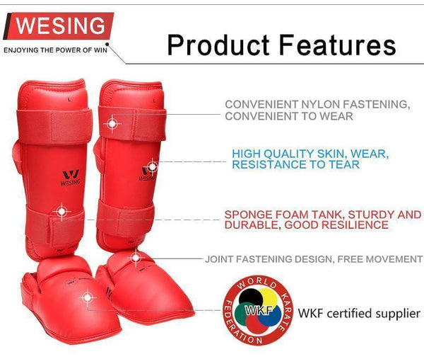 Wesing WKF Approved Karate Shin and Instep Guard (Pair)-S-Red-MO REPS® Fitness Store