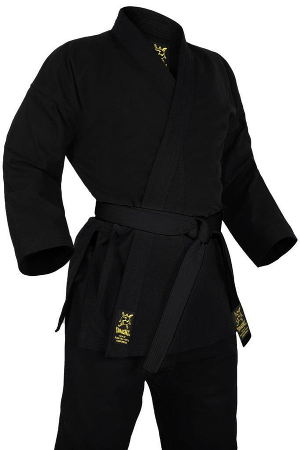 Yamasaki Gold Deluxe Brushed Karate Uniform (14oz) Black-MO REPS® Fitness Store