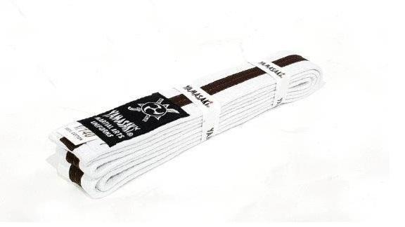 Yamasaki White Martial Arts Belts - Coloured Stripe