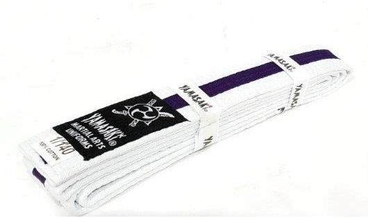 Yamasaki White Martial Arts Belts - Coloured Stripe-1-Purple-MO REPS® Fitness Store