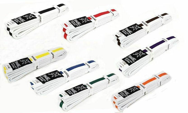 Yamasaki White Martial Arts Belts - Coloured Stripe-MO REPS® Fitness Store