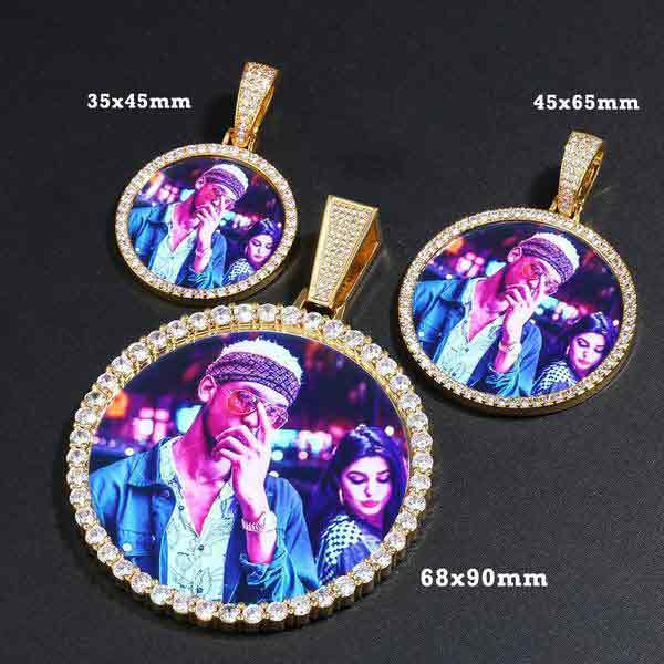 18k gold plated photo medallion necklace
