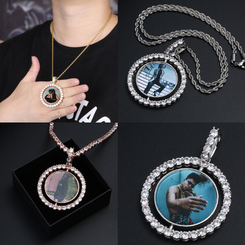 double sided photo rotating necklace
