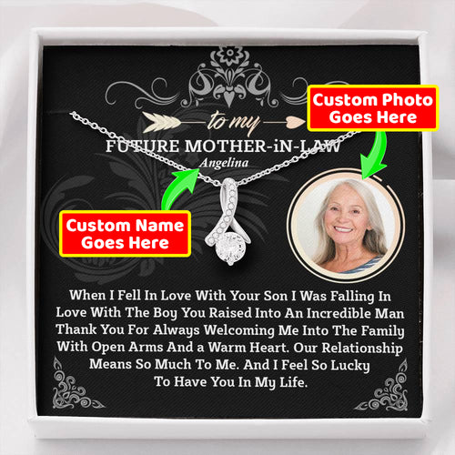 Alluring Beauty Necklace with custom photo message card- Gift For Future Mother in Law