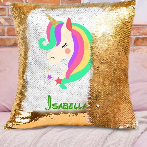 Personalized Unicorn Sequin Pillow Cushion Cover