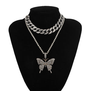 Iced Out Cuban Link Butterfly Pendant Necklace- Women's Hip Hop Jewelry Set