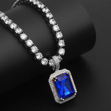Iced Out Bling Gem Stones Pendant Necklace- Hip Hop Jewelry
