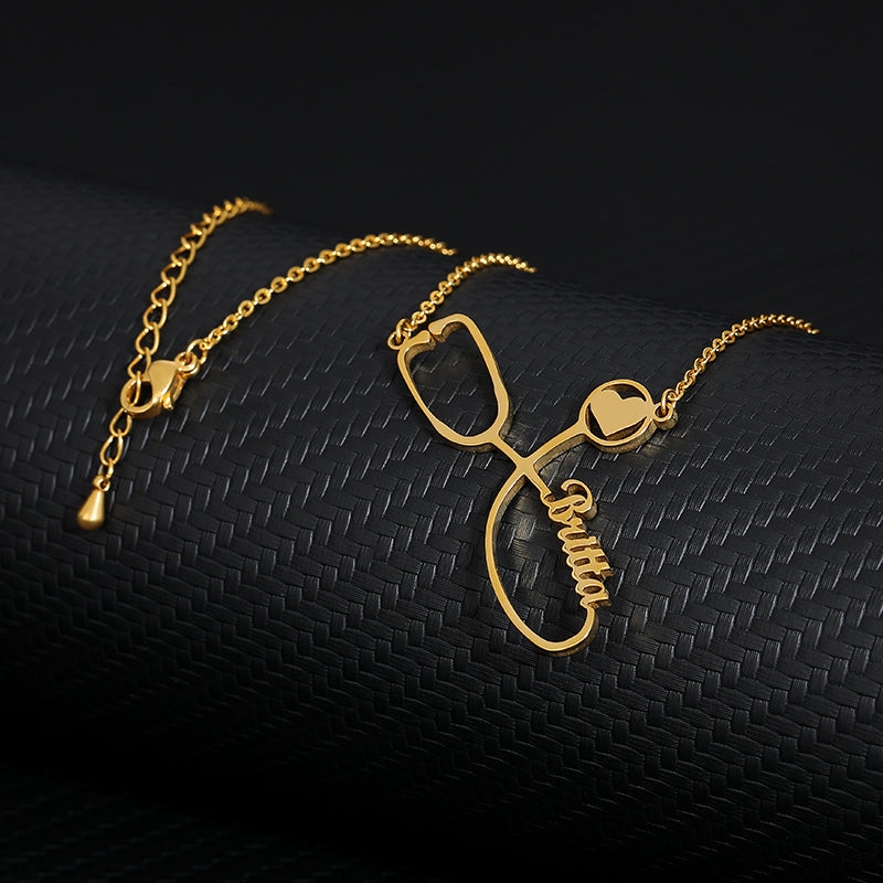 Custom Stethoscope necklace 18k Gold Plated - gifts for doctors, gifts for nurses