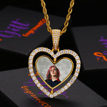 Heart Photo Rotating Medallion Necklace