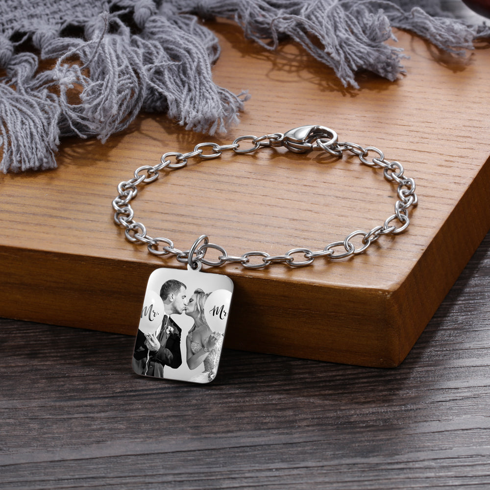 Custom Photo Bracelet- Rectangle Photo Bracelet With Engraving