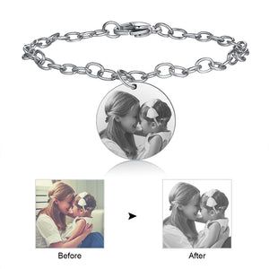 Custom Photo Bracelet- Round Photo Engraved Charm