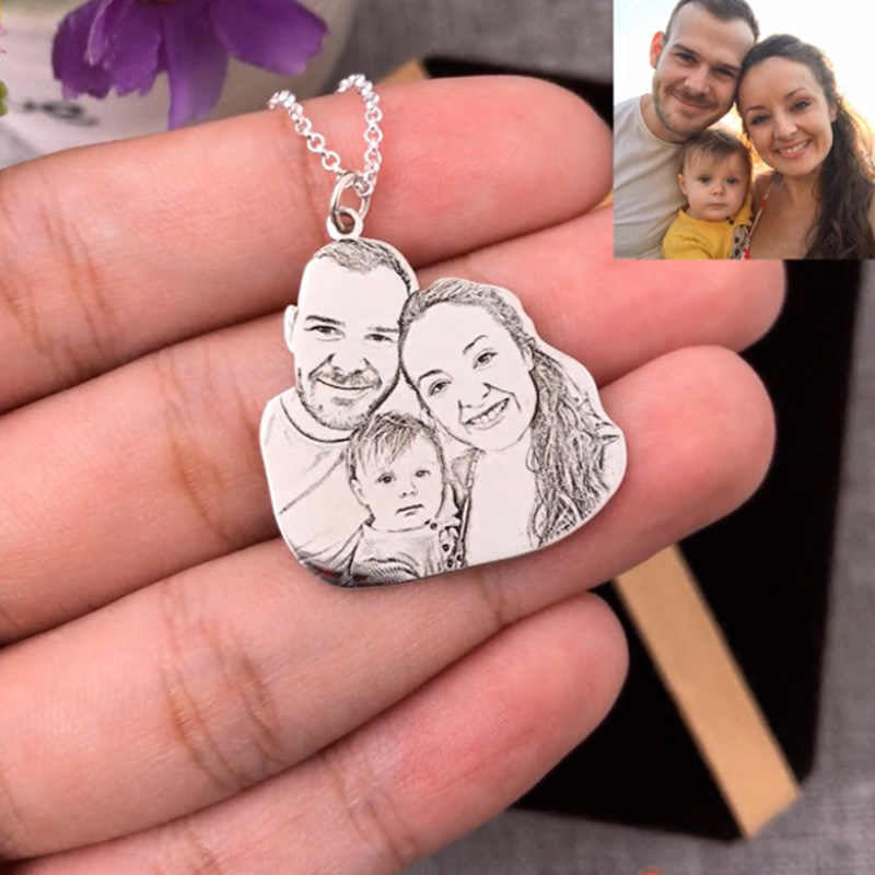 Personalized 925 Sterling Silver Photo Pendant Necklace