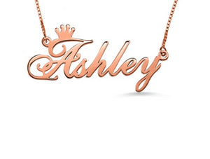 Personalized 18K Gold Plated Name Necklace With Crown