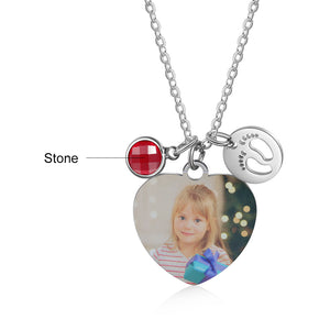 custom heart necklace with birthstone
