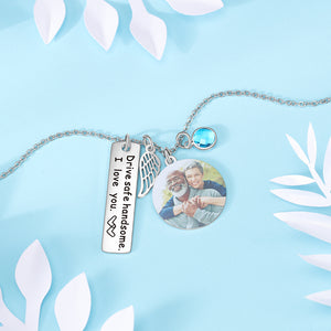 Custom Angel Wing Photo Necklace - Photo Engraved Necklace with Birthstone
