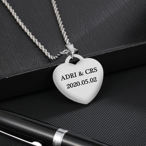 heart photo engraved necklace