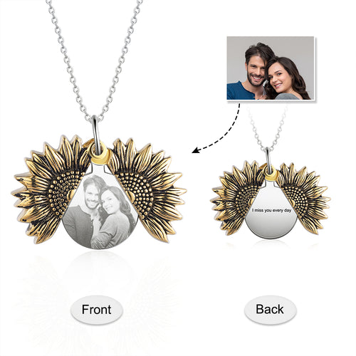 Custom Photo Necklace- Sunflower Necklace For Women