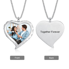 Personalized Photo necklace- Engraved Heart Shape Photo Necklace
