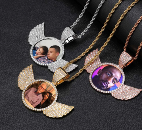 Custom Made Photo With wings Medallions Necklace