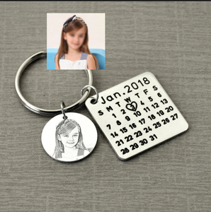 Personalized Calendar Keychain With Special Date