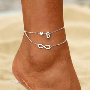 Initial Infinity Anklet Bracelet For Woman