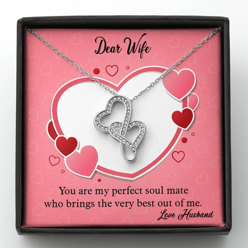 Valentines Day Gifts-Double Heart Necklace -Husband to Wife Gift