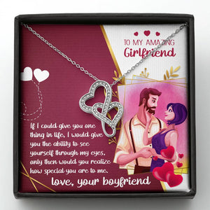 To My Amazing Girfriend- Double Heart Necklace- Gift From Boyfriend