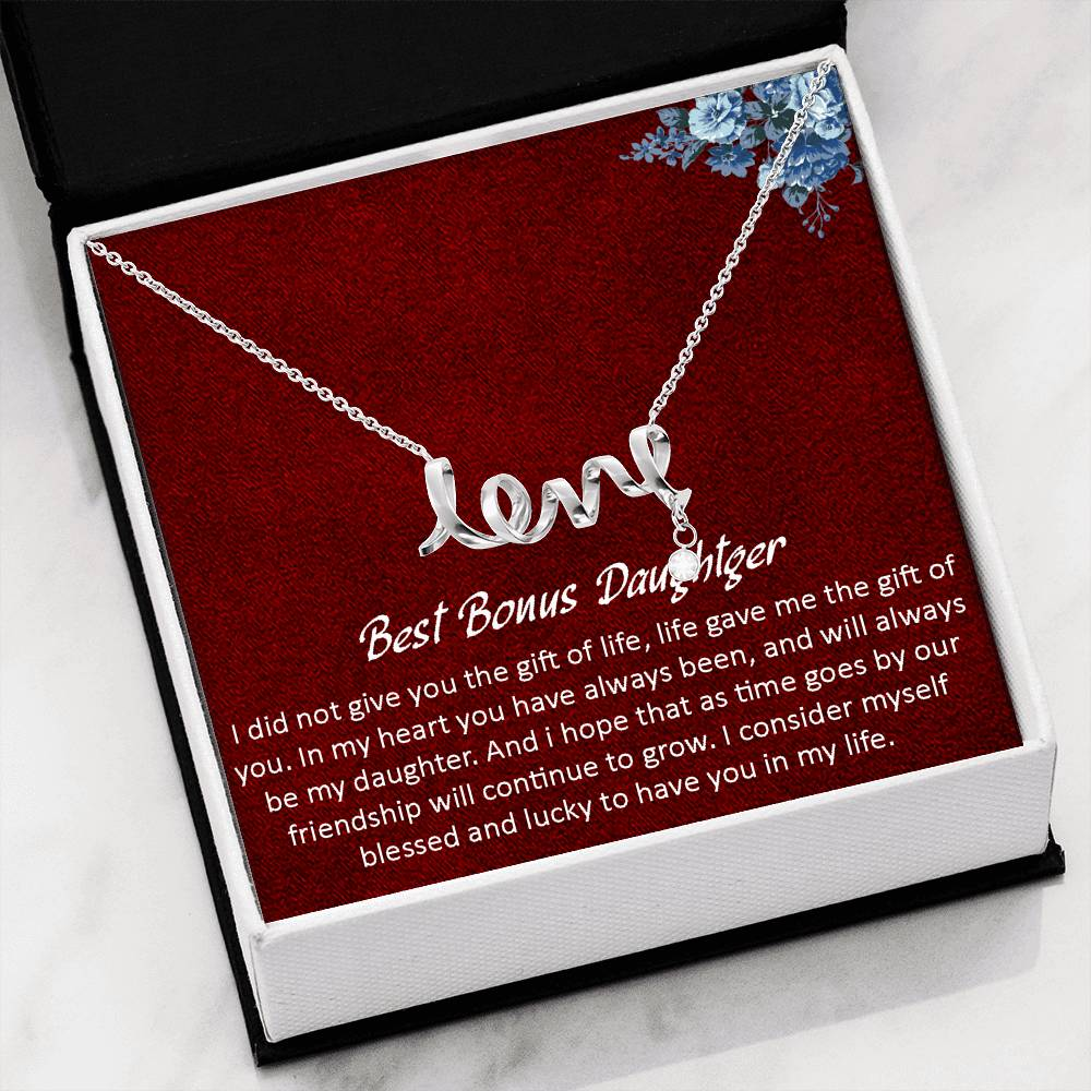 Scripted LOVE Necklace-Bonus Daughter Necklace-Stepdaughter Gift Necklace