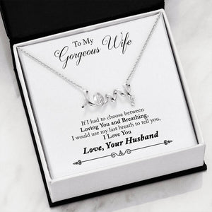 Gorgeous Scripted LOVE Necklace From Husband to wife
