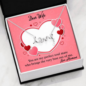 Valentines Day Gifts- Scripted LOVE Necklace- Husband to Wife Gift