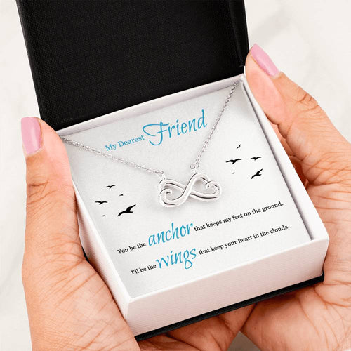 Heart Infinity Necklace For Best Friend With Message Card