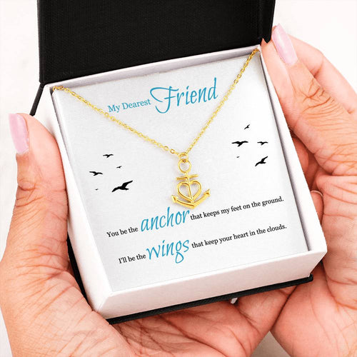 Anchor Necklace For Dearest Friend With Message Card