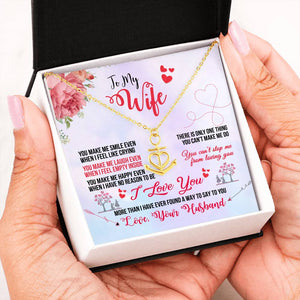 "Anchor Necklace ""I Love You"" Message Card From Husband to wife"