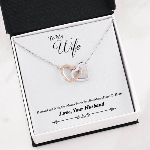 Interlocking Heart Necklace- Heart to Heart- Husband to Wife Gift