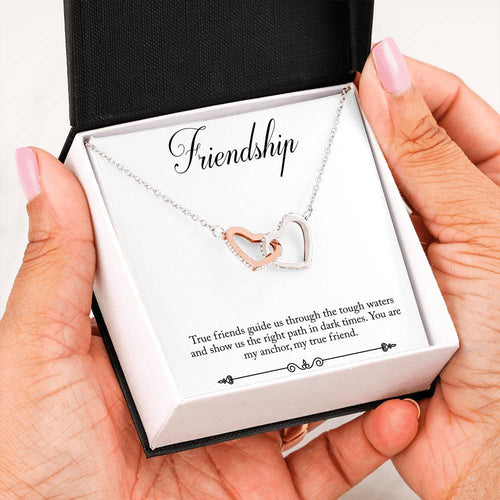 Interlocking Heart Necklace- Friendship anchor