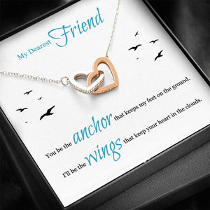 Interlocking Heart Necklace For Best Friend With Message Card