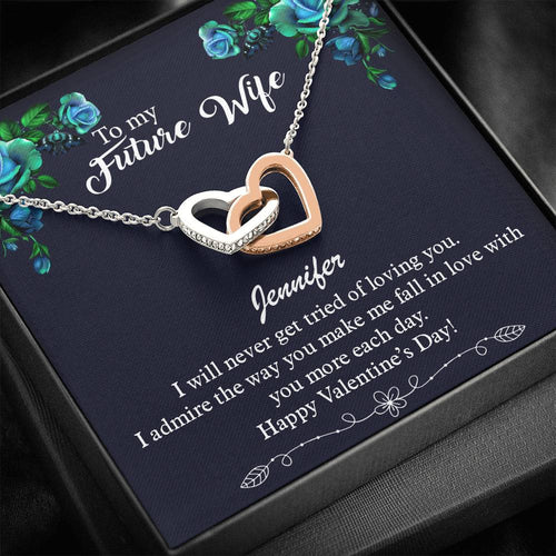 Valentines Day Gifts- Interlocking Hearts Necklace- Necklace For Future Wife