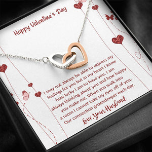 Valentines Day Gifts- Interlocking Hearts Necklace-Gift For Wife