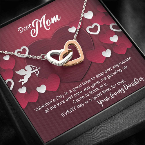 Valentines Day Gifts- Interlocking Hearts Necklace- Daughter to Mom Gift
