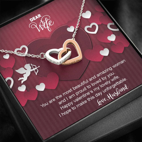 Valentines Day Gifts-Necklace For Wife- Interlocking Hearts Necklace