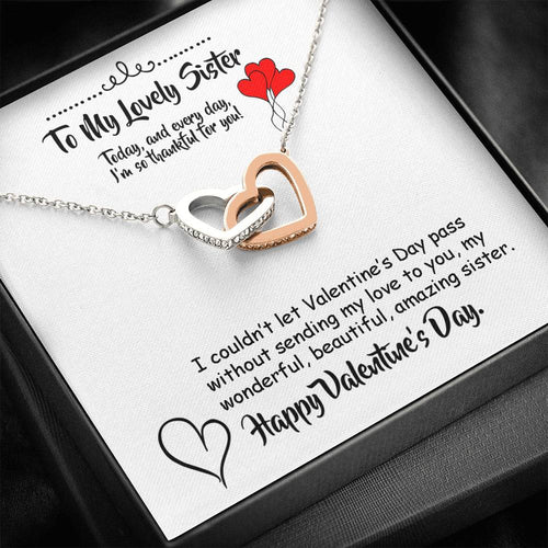 Valentines Day Gifts- Interlocking Hearts Necklace- Gift For Sister