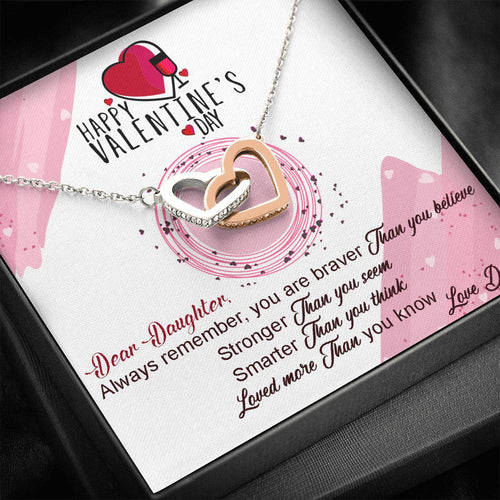 Valentines Day Gifts- Interlocking Hearts Necklace-Dad To Daughter Gift