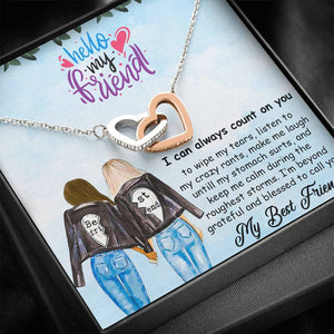 Interlocking Hearts Necklace-To My Best Friend- I can always count on you