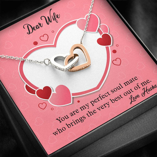 Valentines Day Gifts- Interlocking Hearts Necklace- Gifts For Wife