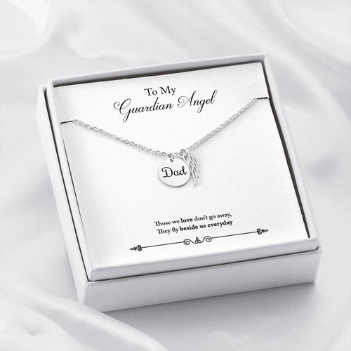 Dad Remembrance Necklace With My Guardian Angel Message Card
