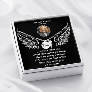 Dad Remembrance Necklace-Custom Photo Message Card-Personalized Memorial Angel Wings Necklace