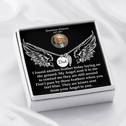 Dad Remembrance Necklace-Custom Photo Message Card-Memorial Angel Wings Necklace