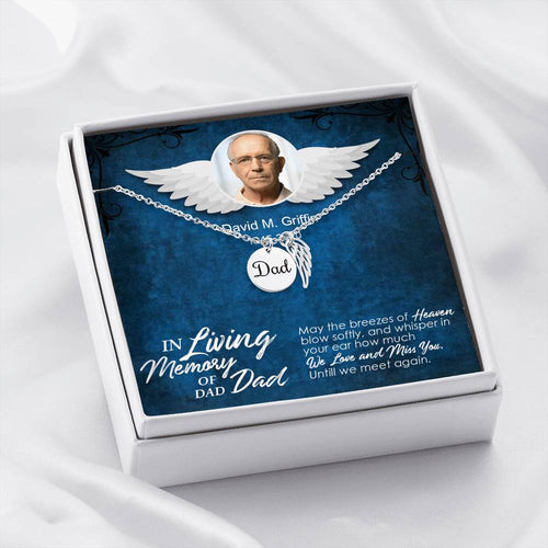 Dad Remembrance Necklac with Custom Photo Message Card, Memorial Angel Wings Necklace